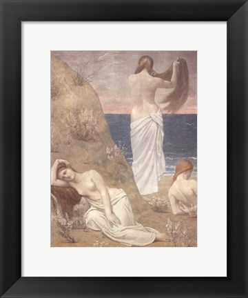 Framed Young Women at the Sea Shore (petite version) Print