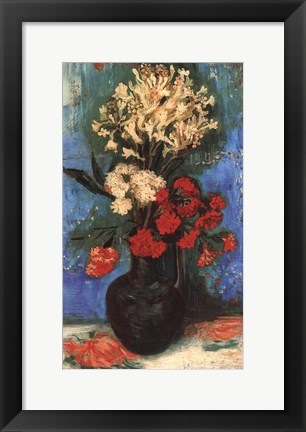 Framed Vase with Carnations and Other Flowers, 1886 Print