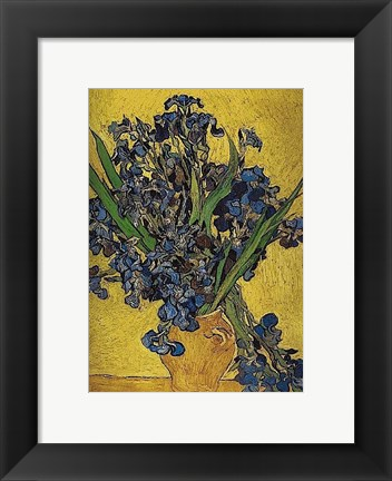 Framed Irises in Vase Print