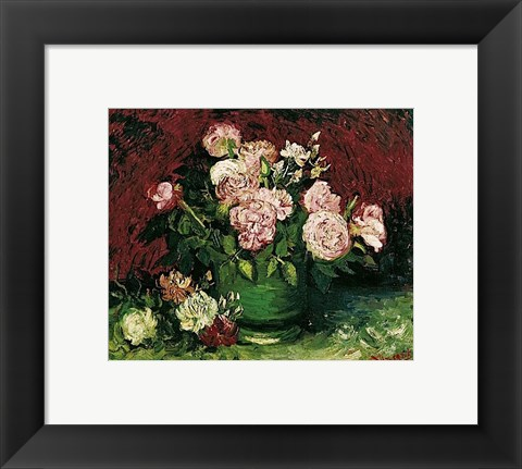Framed Roses and Peonies, 1886 Print