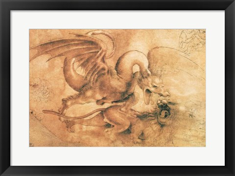 Framed Fight between a Dragon and a Lion Print