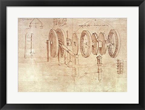 Framed Studies of Toothed Gears and for a Hygrometer Print