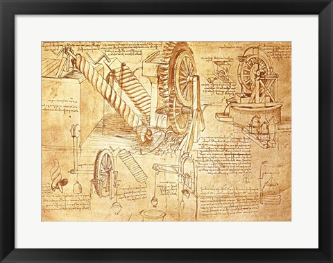 Framed Facsimile of Codex  Atlanticus Screws and Water Wheels Print