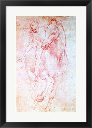 Framed Study of a Horse and Rider, c.1481 Print