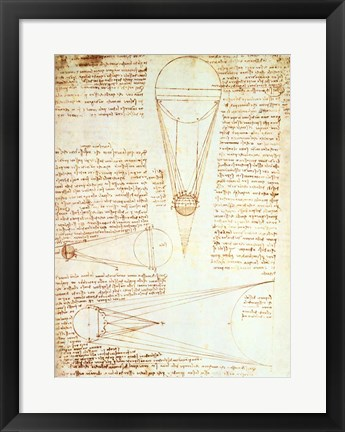 Framed Studies of the Illumination of the Moon 1r from Codex Leicester Print