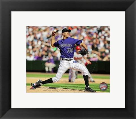 Framed Ubaldo Jimenez 2011 pitching action Print
