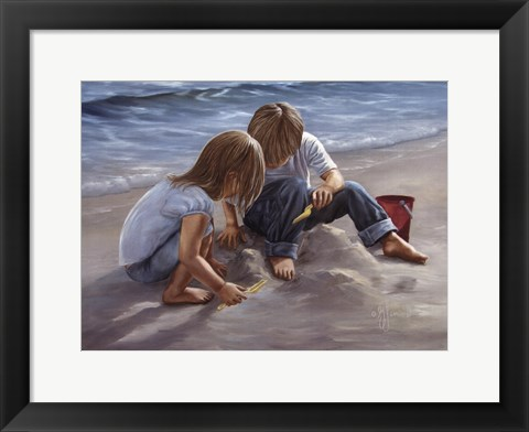 Framed Sand Castle Builders Print