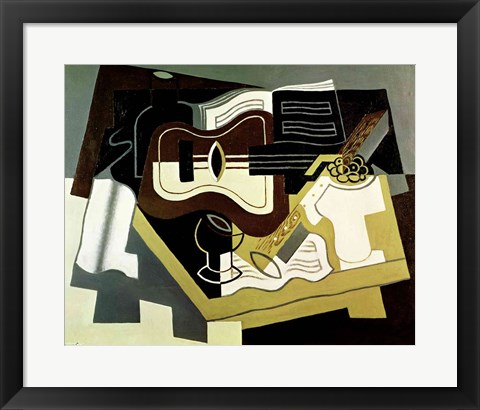 Framed Guitar and Clarinet, 1920 Print