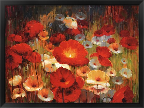 Framed Meadow Poppies I Print