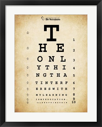 Framed Einstein Eye Chart Print