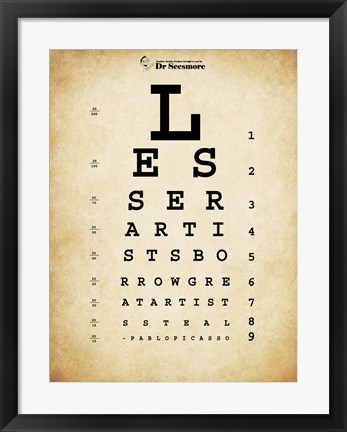 Framed Picasso Eye Chart Print