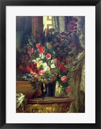 Framed Vase of Flowers on a Console Print