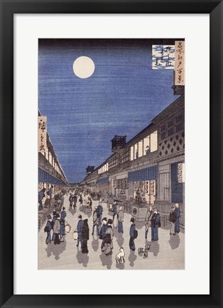 Framed Night time view of Saruwaka Street Print