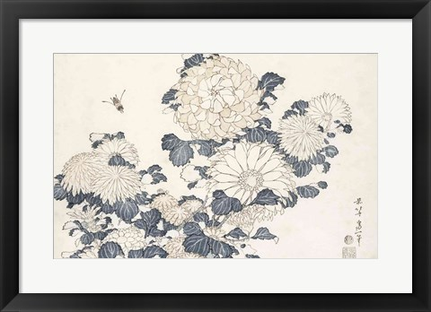 Framed Bee and Chrysanthemums Print