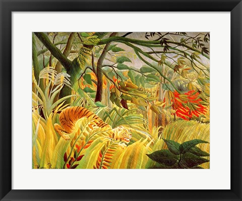 Framed Tiger in a Tropical Storm Print