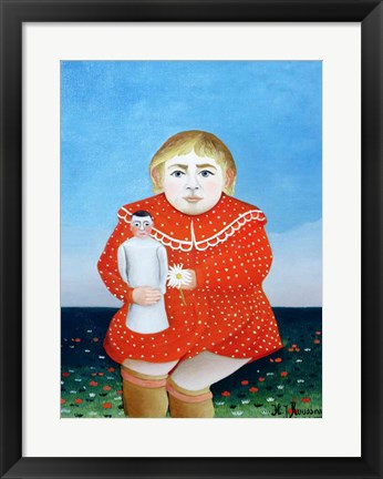 Framed girl with a doll Print