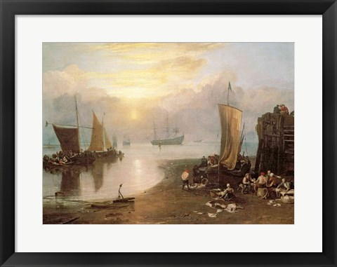 Framed Sun Rising Through Vapour: Fishermen Cleaning and Selling Fish, c.1807 Print