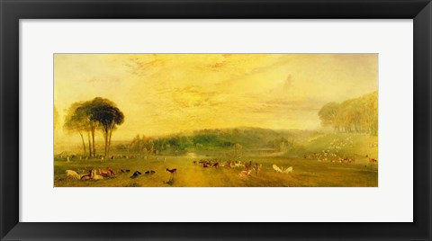 Framed Lake, Petworth: Sunset, Fighting Bucks Print