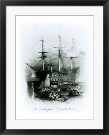 Framed Bellerophon at Plymouth Sound in 1815 Print