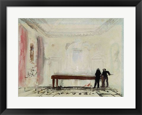 Framed Billiard players at Petworth House, 1830 Print