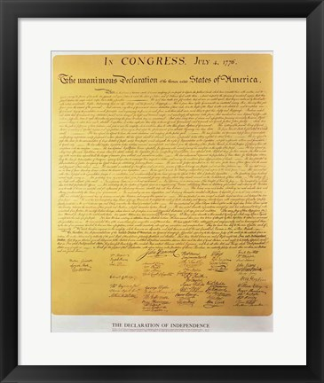 Framed Declaration of Independence of the 13 United States of America of 1776 Print