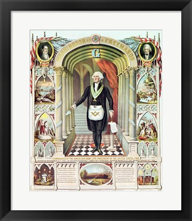 Framed George Washington as a Freemason Print