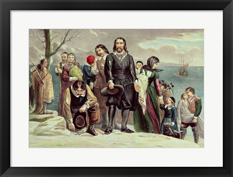 Framed Landing of the Pilgrims at Plymouth, Massachusetts, December 22nd 1620 Print