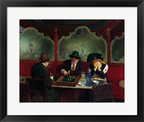 Framed Backgammon Players Print