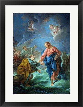 Framed St. Peter Invited to Walk on the Water Print