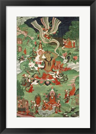 Framed Buddha cutting a tuft of hair, Tibetan temple banner Print