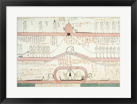 Framed Scene from the Book of Amduat showing the journey to the Underworld Print