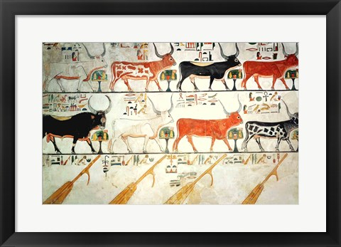 Framed seven celestial cows and the sacred bull and the four rudders of heaven Print