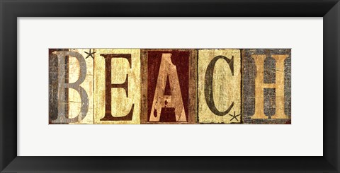 Framed Weathered Beach Sign Print