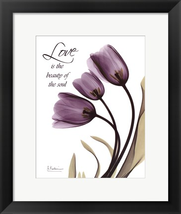 Framed Blackberry Tulips, Love Print