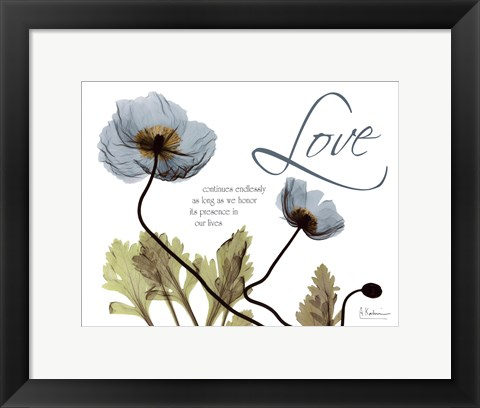 Framed Mineral Blue Poppies...Love Print
