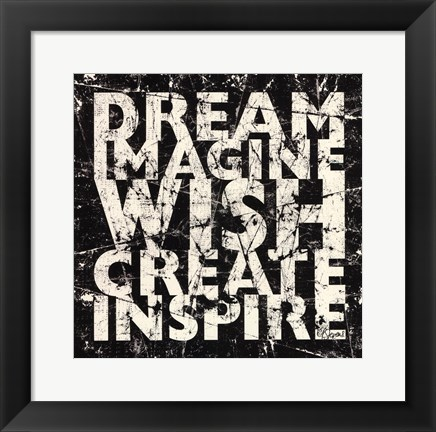 Framed Marble Dream Wish Inspire Print