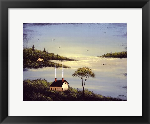 Framed Salt Box by the Lake I Print