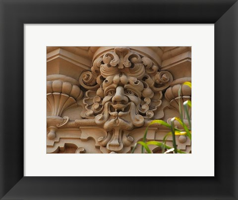 Framed Face In Stone On Buildings Wall Print