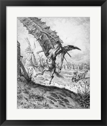 Framed Don Quixote and the Windmills Print