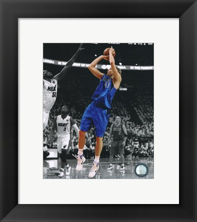 Framed Dirk Nowitzki Game 1 of the 2011 NBA Finals Spotlight Action Print