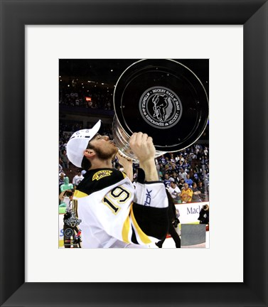 Framed Tyler Seguin with the Stanley Cup  Game 7 of the 2011 NHL Stanley Cup Finals(#49) Print