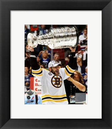 Framed Milan Lucic with the Stanley Cup  Game 7 of the 2011 NHL Stanley Cup Finals(346) Print