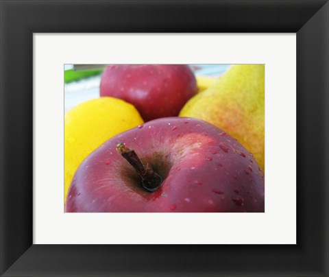 Framed Closeup of an Apple, Lemon and Pear Print