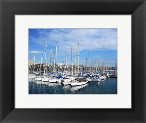 Framed Barcelona Harbour Print