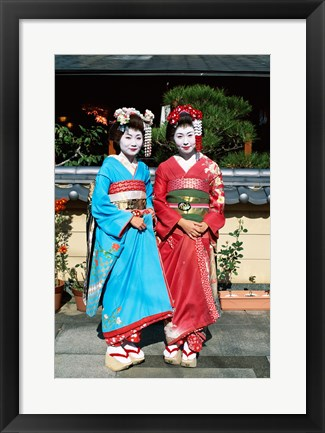 Framed Portrait of two geishas Print