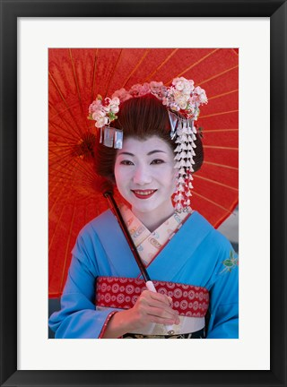 Framed Geisha in Blue with Orange Umbrella Print