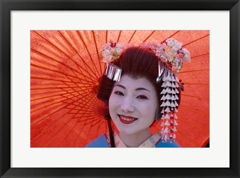Framed Geisha Orange Umbrella Print