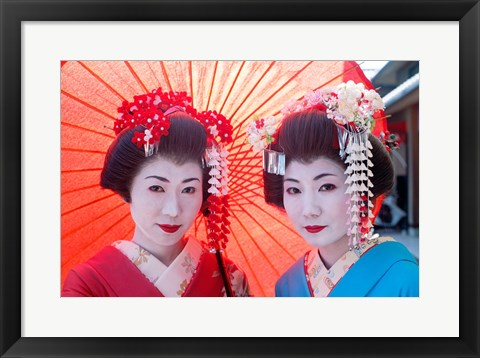Framed Geishas with Umbrellas Print