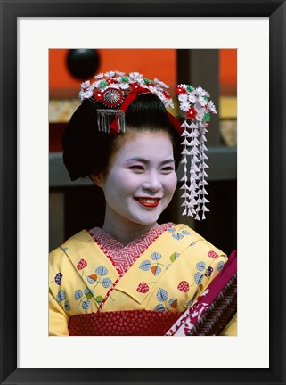 Framed Japanese Geisha with Flowers in Her Hair Print