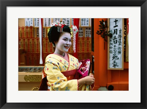 Framed Geisha in Yellow Print